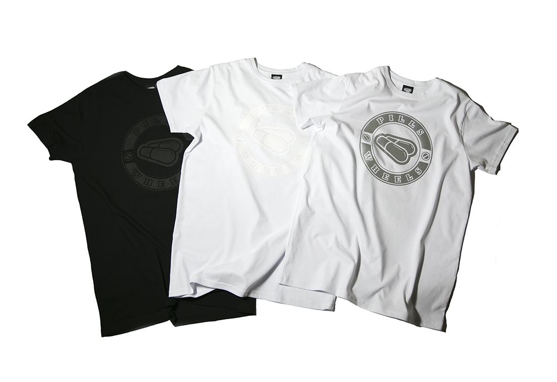 3 футболки PILLS WHEELS - REFLECTIVE, WHITE, BLACK
