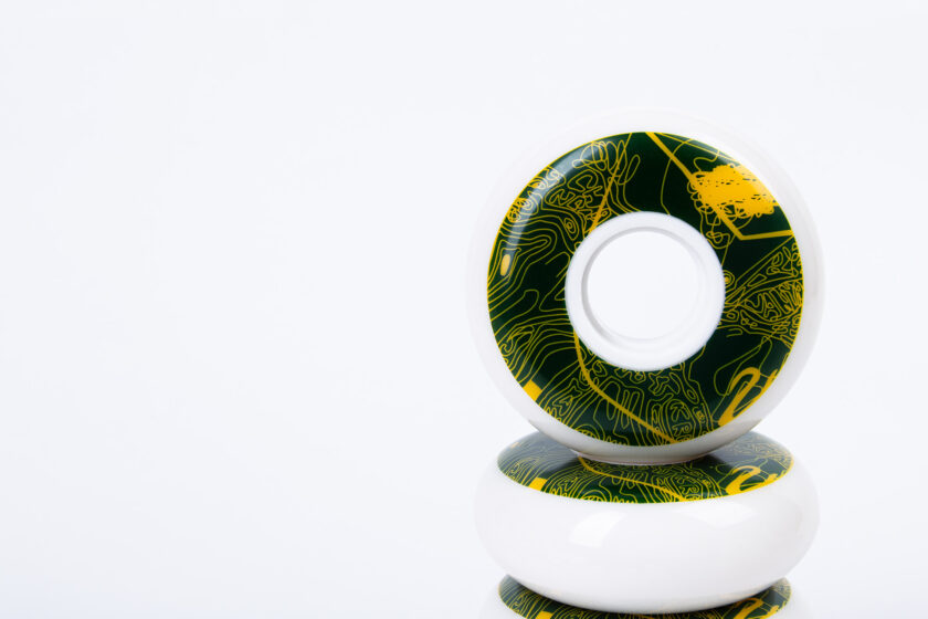 White PU Wheels with White Core, Abstract Green and Yellow Trippy Graphics