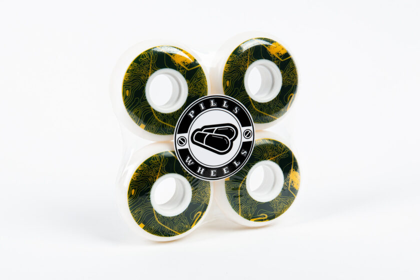 White PU Wheels with Abstract Green and Yellow Trippy Graphics and Pills Logo Sticker